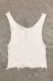 Punk Rock Lies Cutoff Pinned & Studded Crop Tank Top 043 in White - One More Chance Vintage