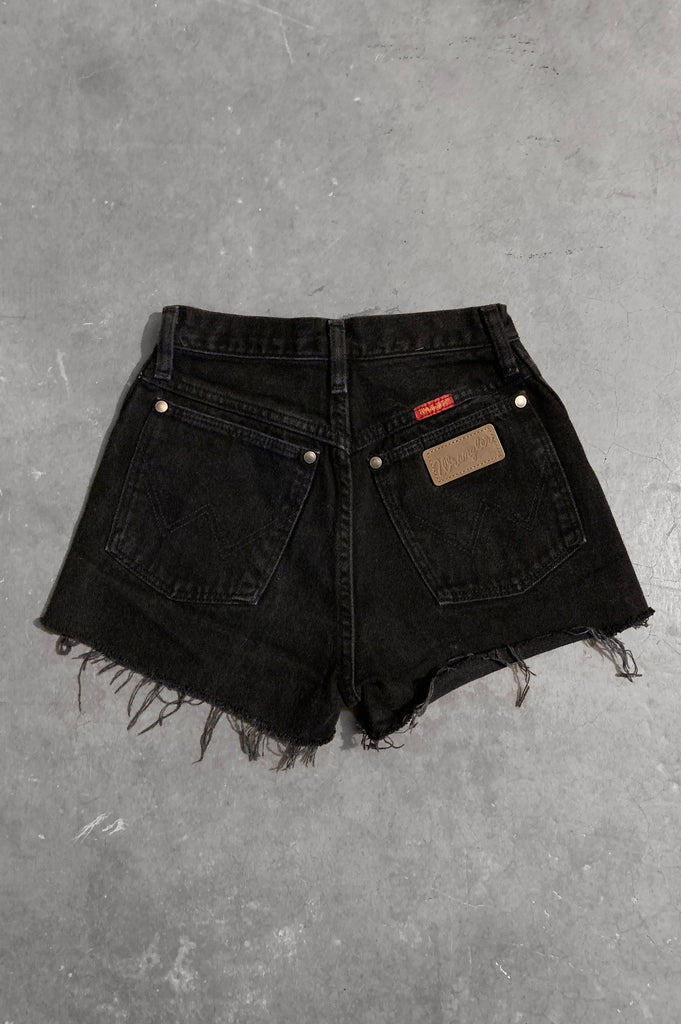 Punk Rock Lies Wrangler Studded Denim Cut Off Shorts in Black - Size 23 - One More Chance Vintage