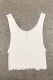Punk Rock Lies Cutoff Distressed Crop Tank Top 034 in White - One More Chance Vintage