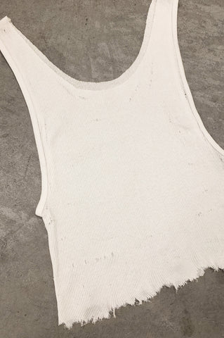 Punk Rock Lies Cutoff Distressed Tank Top 036 in White - One More Chance Vintage