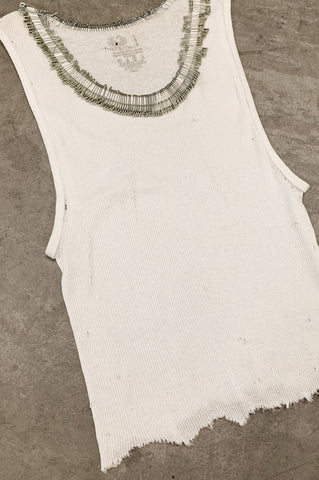Punk Rock Lies Cutoff Distressed & Pinned Tank Top 033 in White - One More Chance Vintage