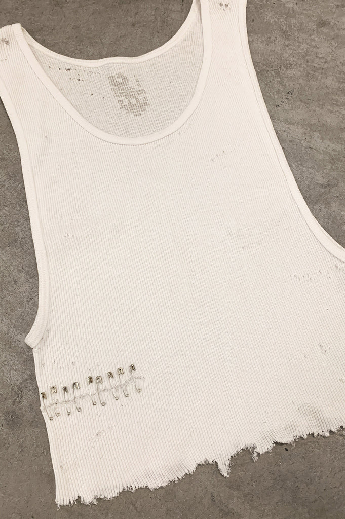 Punk Rock Lies Cutoff Distressed & Pinned Crop Tank Top 038 in White - One More Chance Vintage