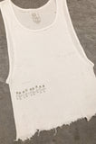 Punk Rock Lies Cutoff Distressed & Pinned Crop Tank Top 039 in White - One More Chance Vintage