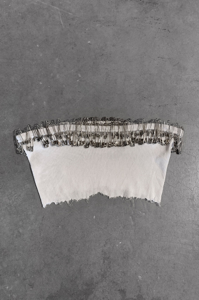 Punk Rock Lies Safety Pinned Cut Off Underboob Crop Tube Top Tank 090 in White - Small - One More Chance Vintage