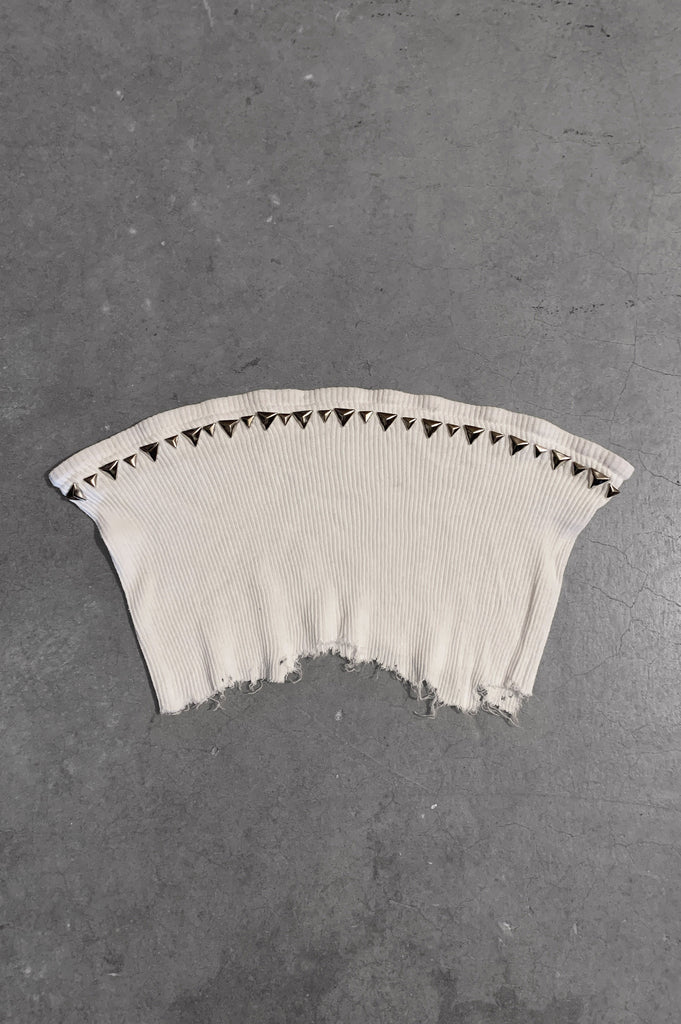 Punk Rock Lies Studded Cut Off Underboob Crop Tube Top Tank 088 in White - Small - One More Chance Vintage