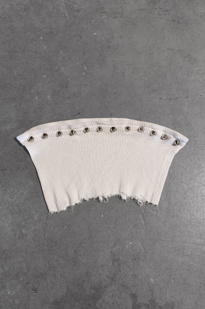 Punk Rock Lies Studded Cut Off Underboob Crop Tube Top Tank 089 in White - Small - One More Chance Vintage