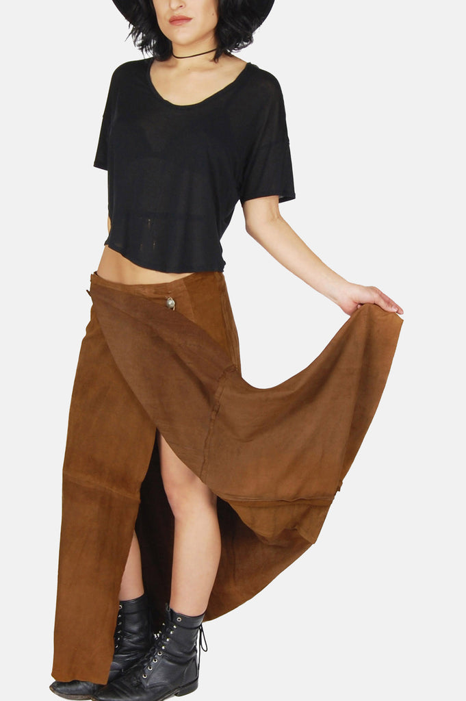 Ralph Lauren Country Girl Leather Maxi Skirt