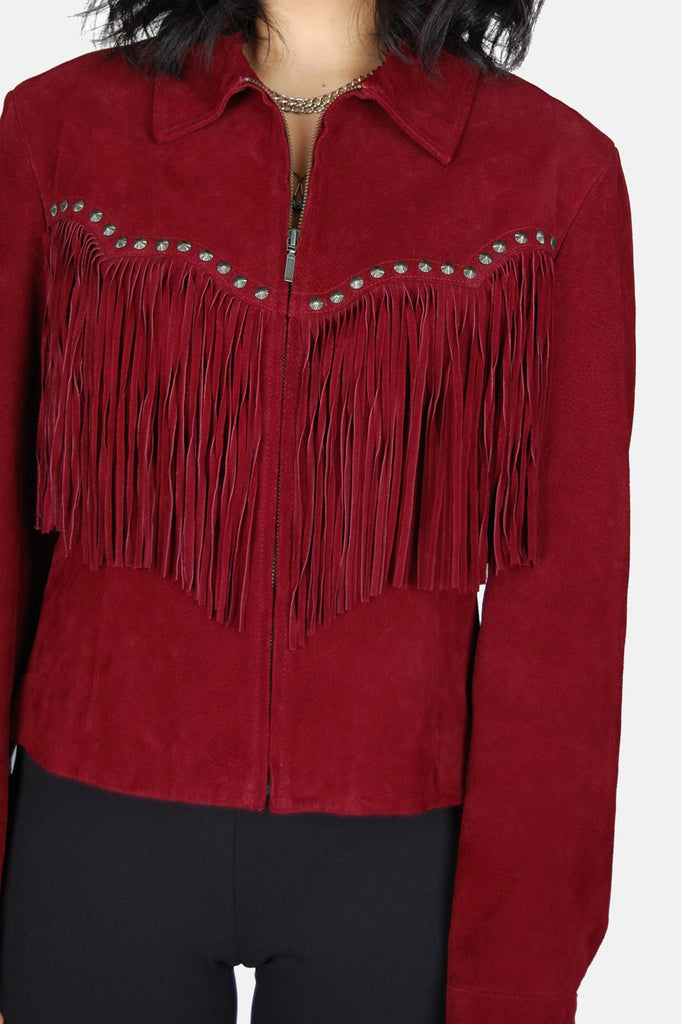 On The Fringe Concho Suede Leather Jacket - One More Chance - 4