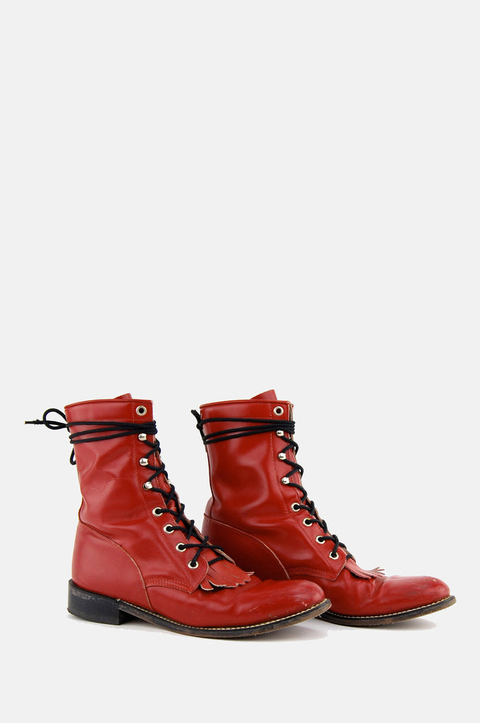One More Chance Boutique - Vintage Diamond J Red Leather Justin Boots