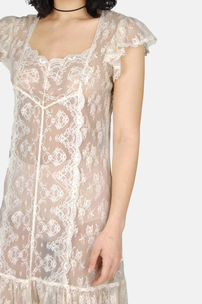 One More Chance Boutique - Vintage Good Hearted Woman Sheer Lace Maxi Dress
