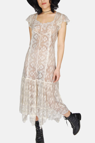 One More Chance Vintage - Vintage Good Hearted Woman Sheer Lace Maxi Dress