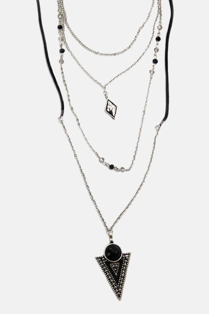 One More Chance Boutique - Turned To Black Gem Layered Necklace