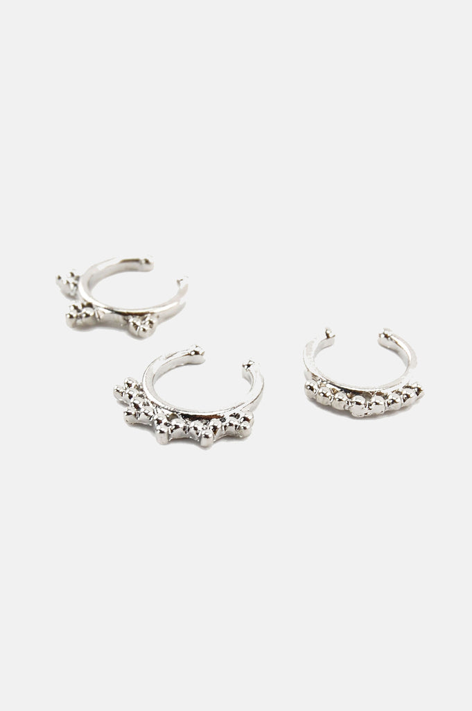 One More Chance Vintage - Bad Reputation Silver Septum Nose Rings Set of 3