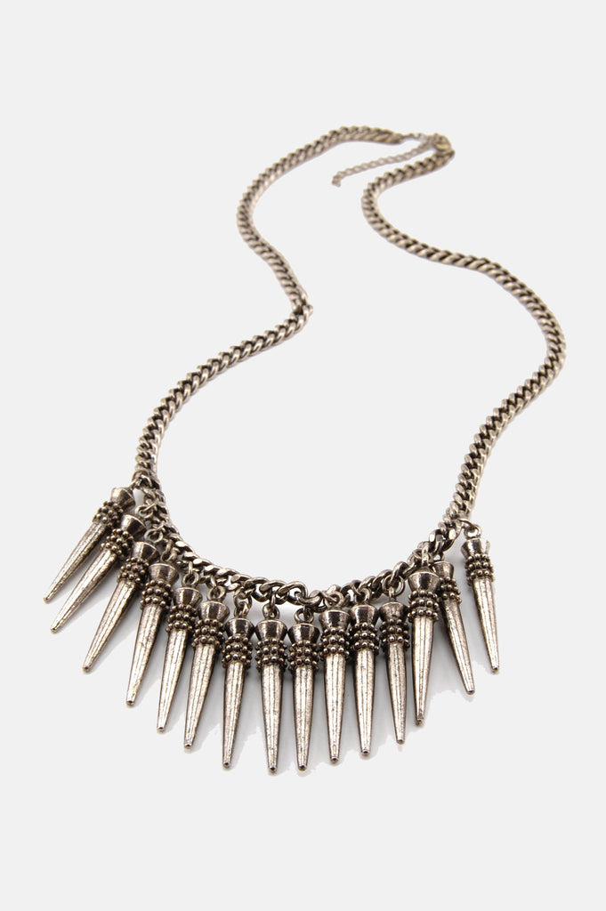One More Chance Boutique - Vintage Metal Head Spiked Dagger Necklace