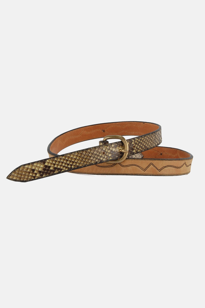 One More Chance Vintage - Vintage Snake Bite Western Skinny Leather Belt