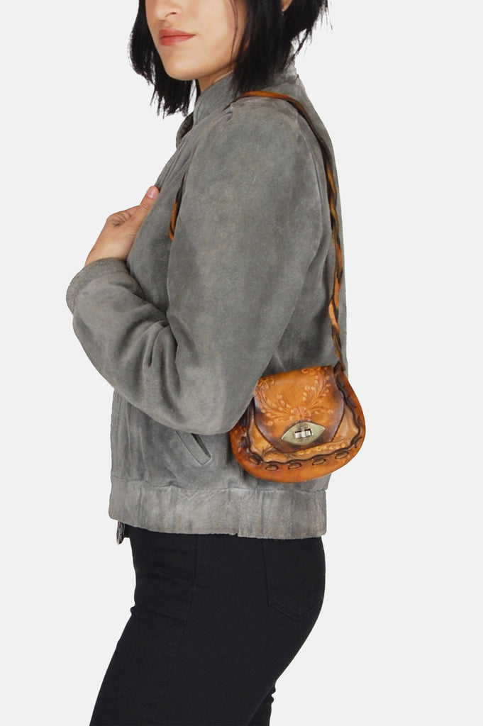Small Floral Tooled Leather Saddle Bag