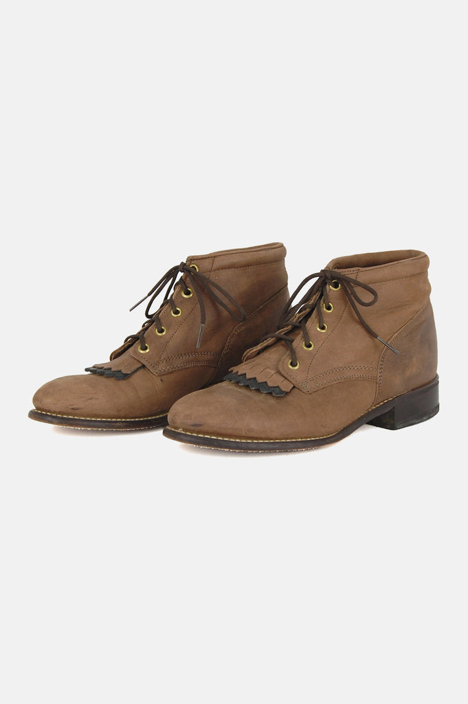 Walk With Me Leather Ankle Justin Boots - One More Chance - 4