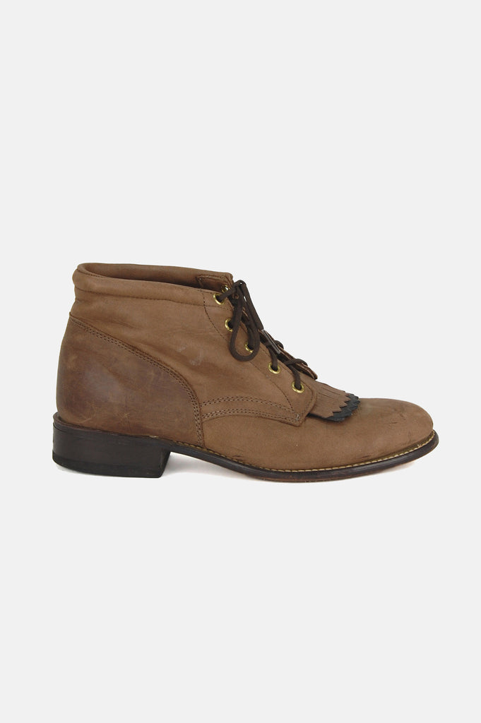 Walk With Me Leather Ankle Justin Boots - One More Chance - 1