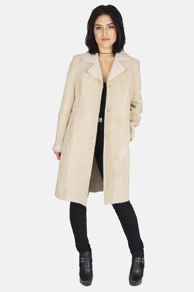 One More Chance Boutique - Vintage Caslon Suede Leather Shearling Coat