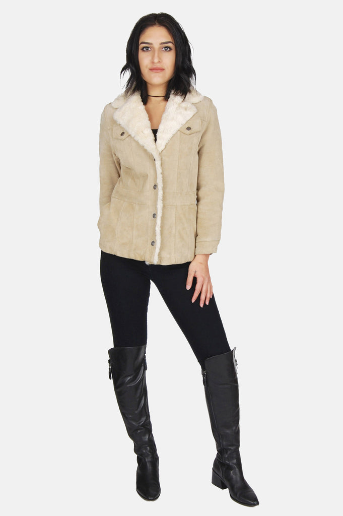 One More Chance Boutique - Vintage Wilson's Suede Leather Shearling Jacket