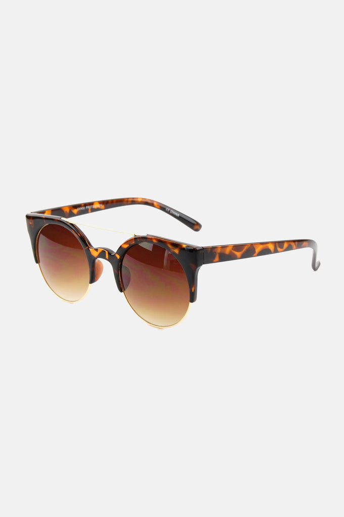 One More Chance Boutique - Freja Retro Rounded Sunglasses in Tortoise