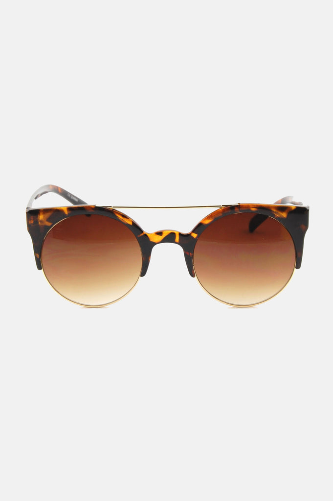 One More Chance Vintage - Freja Retro Rounded Fashion Sunglasses in Tortoise