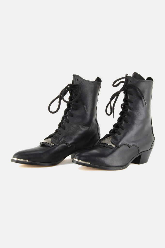 One More Chance Vintage - Vintage Witching Hour Lace Up Leather Ankle Boots