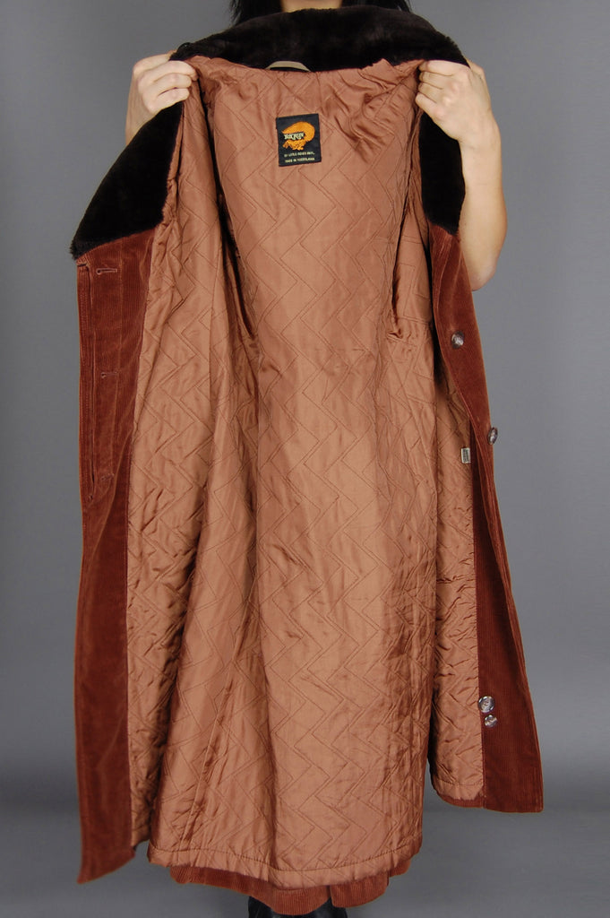 One More Chance Vintage - Vintage Fox Run Fur Collar Corduroy Trench Coat