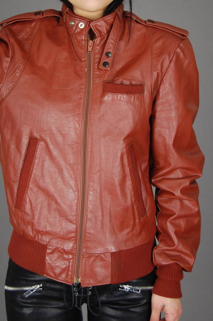 Vintage Aberdeen Rust Brown Leather Racer Motorcycle Cafe Bomber Jacket - One More Chance Vintage
