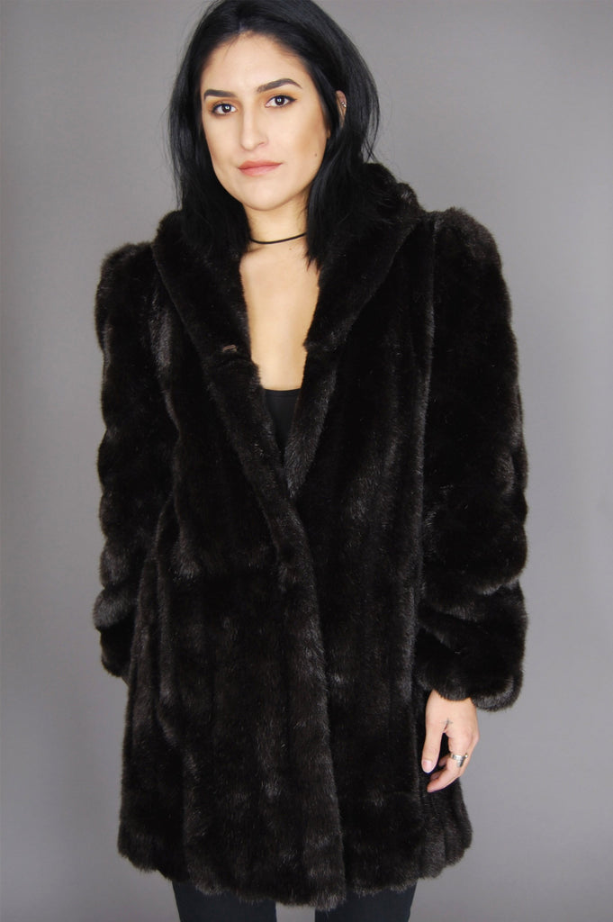 One More Chance Vintage - Vintage American Signature Faux Fur Chunky Jacket