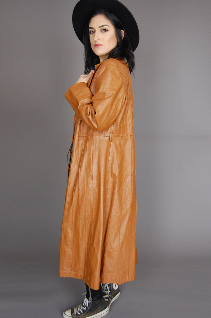 One More Chance Vintage - Vintage Straight To The Top Avanti Leather Trench Coat