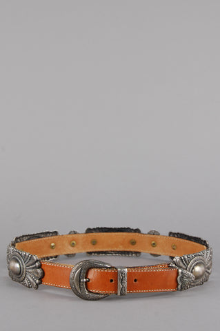 Avignon Ornate Skinny Leather Belt