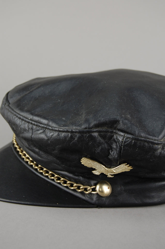 Berman's Leather Eagle Studded Chained Captains Hat