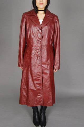 One More Chance Vintage - Vintage Berman's Maroon Whiskey Red Leather Faux Fur Lined Trench Coat