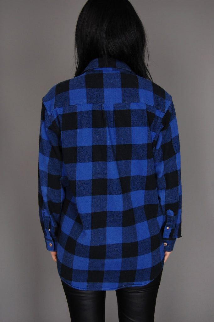 One More Chance Vintage - Vintage Field & Stream Plaid Flannel Top - Blue