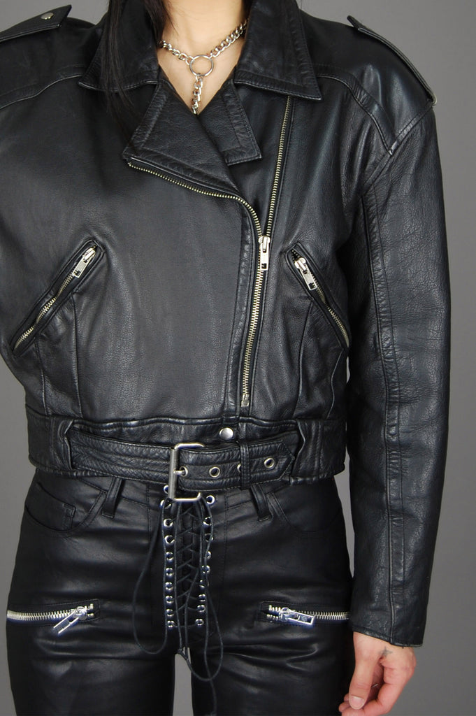 Vintage Black Crop Belted Leather Moto Biker Jacket - One More Chance Vintage
