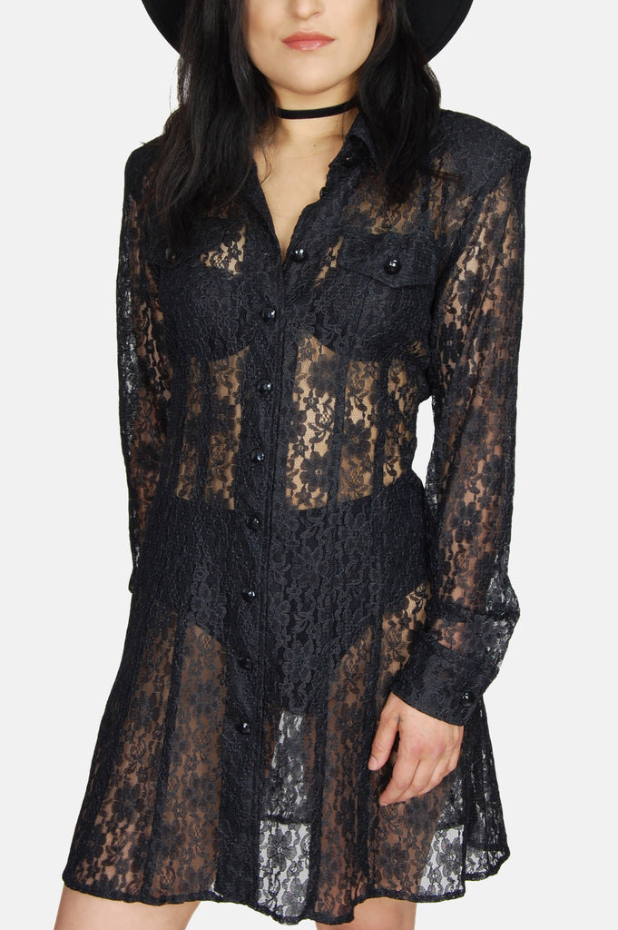 Dawn Joy Sheer Floral Lace Mini Dress