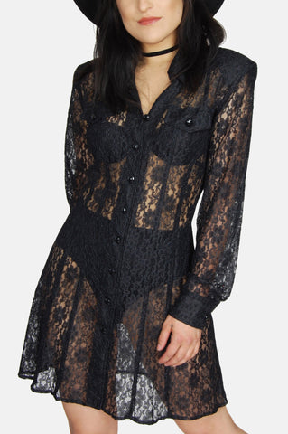 One More Chance Vintage - Vintage Dawn Joy Sheer Floral Lace Mini Dress