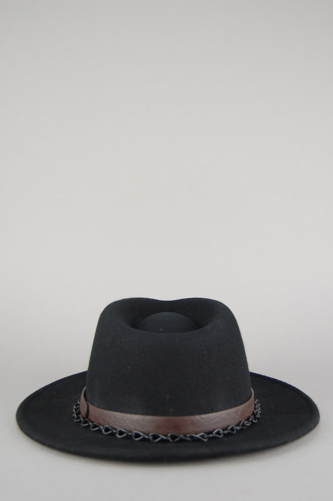 Vintage Black Felt Leather Studded Chained Band Fedora Hat Cap - One More Chance Vintage