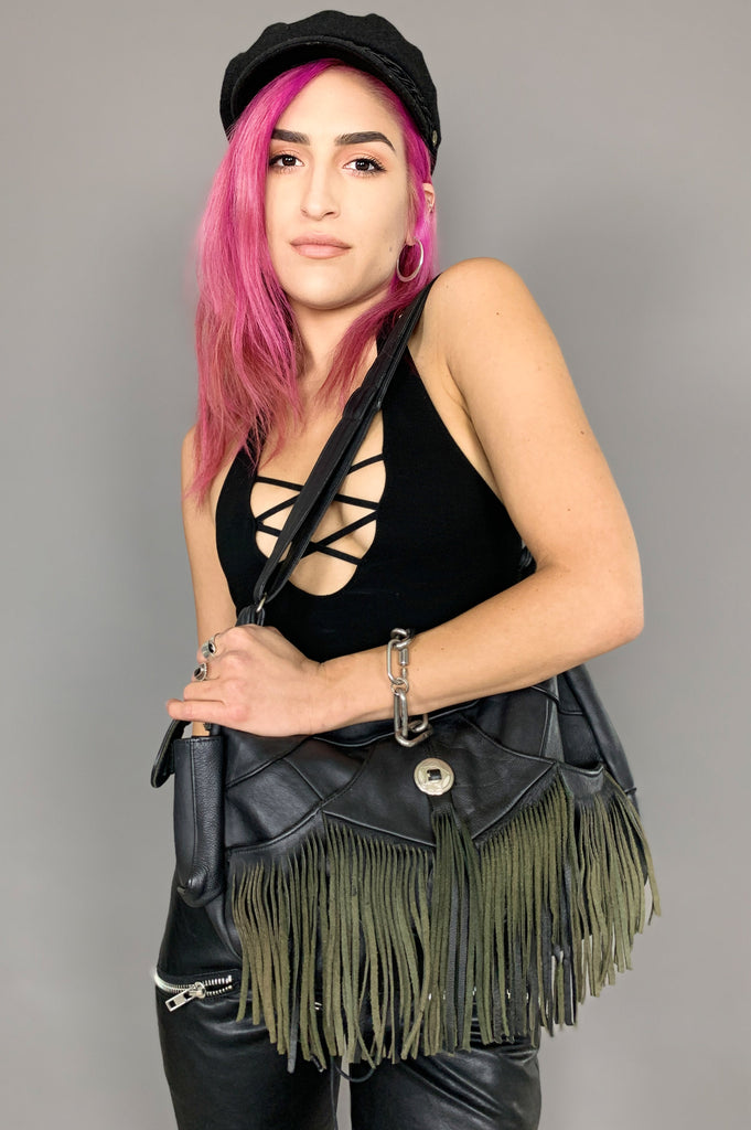 Vintage On The Fringe Concho Black Leather Shoulder Bag - One More Chance Vintage