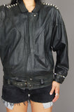 Punk Rock Lies Vintage Black J Elkins Biker Studded Leather Moto Jacket - One More Chance Vintage