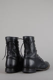 One More Chance Vintage - Vintage Black Justin Lace Up Leather Ankle Roper Boots