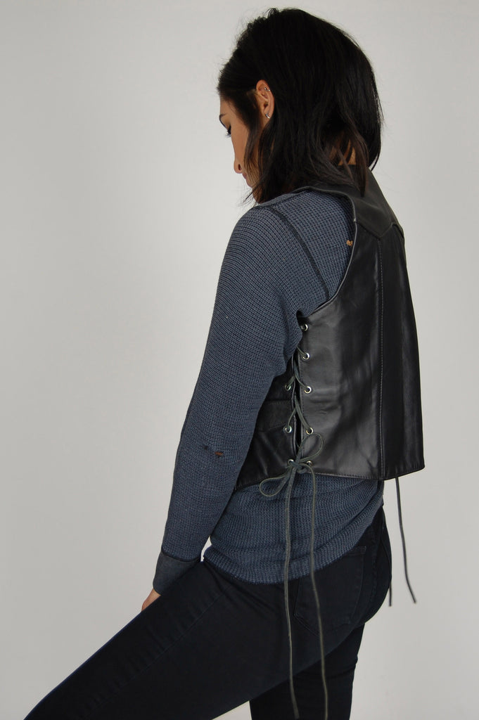 One More Chance Vintage - Vintage Ramble On Lace Up Leather Moto Vest