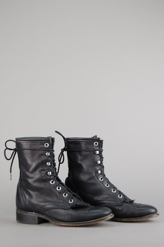 One More Chance Vintage - Vintage Black Laredo Lace Up Leather Ankle Roper Boots