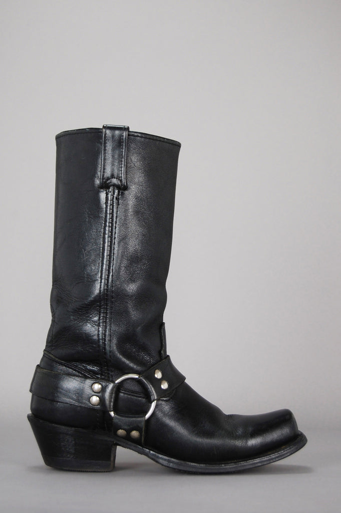 One More Chance Vintage - Vintage On The Run Moto Biker Leather Harness Boots