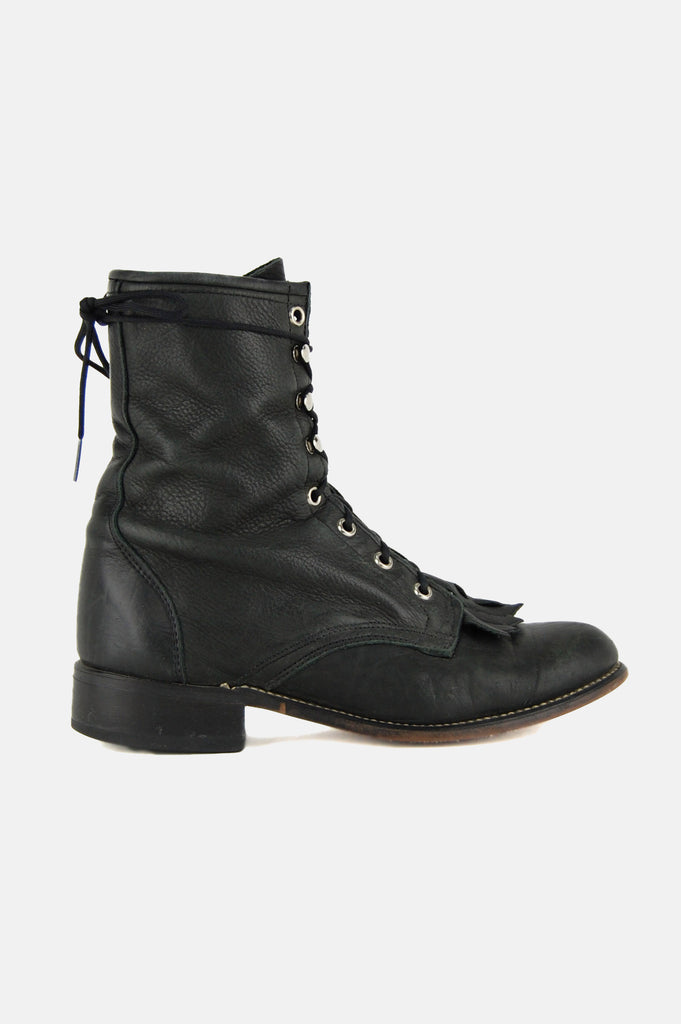 One More Chance Vintage - Vintage Laredo Justin Lace Up Leather Ankle Boots