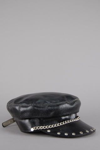 Night Rider Studded & Chained Leather Biker Hat