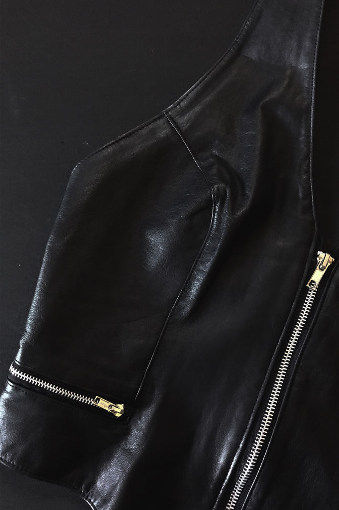 One More Chance Vintage - Vintage Born Wild Zip Up Leather Halter Top