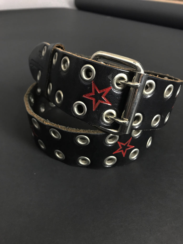 One More Chance Vintage - Vintage Silver Grommet Star Stamped Wide Leather Belt
