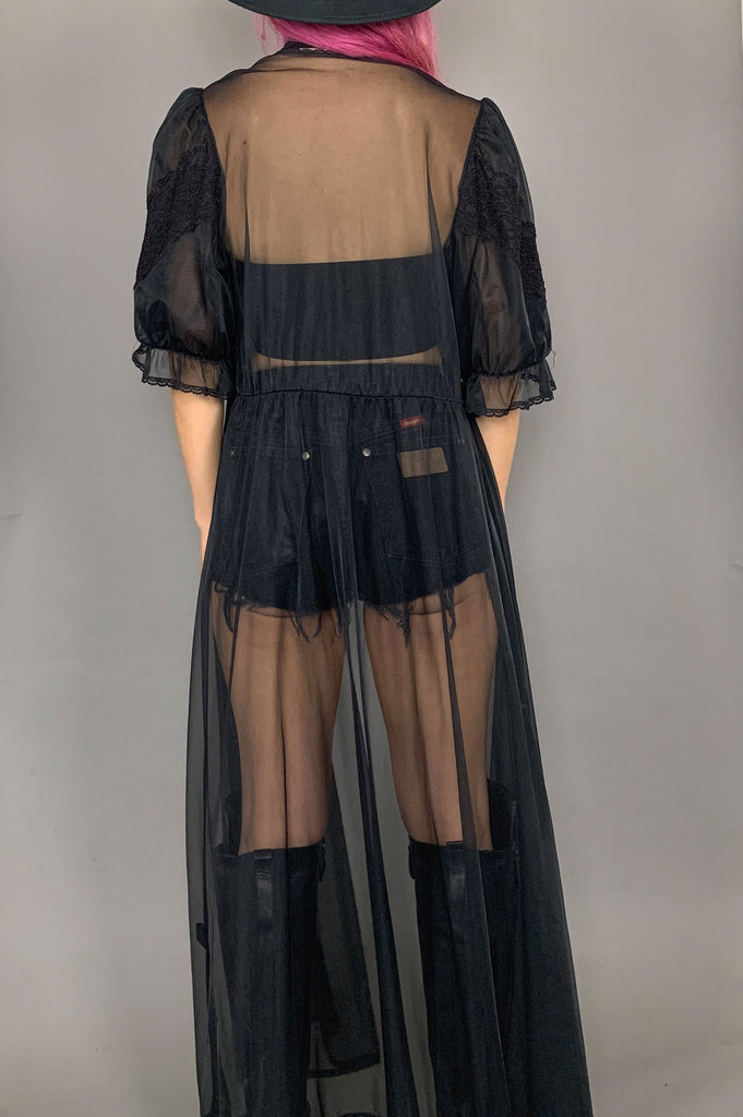 Vintage Sleepless Night Black Sheer Lace Duster Jacket Robe - One More Chance Vintage